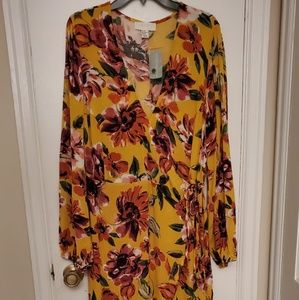NWT 3X Mustard Yellow Floral Forever 21 dress